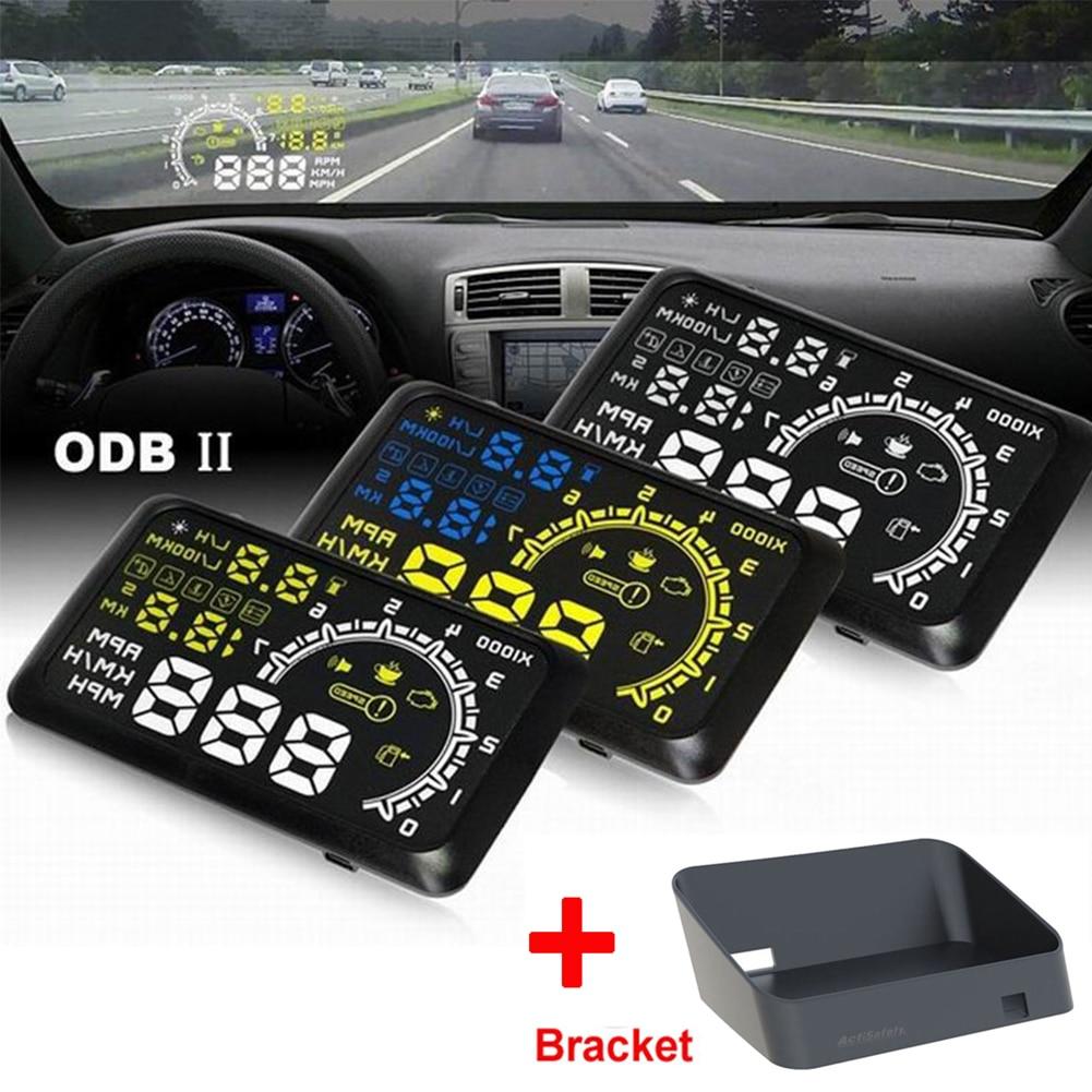 """imágenes para Nueva 4C 5.5 """"coche HUD HUD con el envío Bracket 5.5"""" Head UP Display OBDII Parabrisas Del Coche Proyector Kit de Combustible Sobrevelocidad Advertencia HUD KMH"""