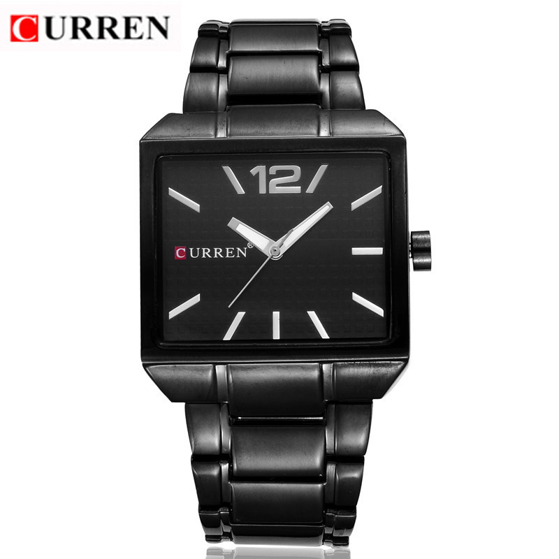 <font><b>CURREN</b></font> Men Watches Waterproof Square Clock Male Black Stainless Steel Business Quartz Watch Men Top Brand Luxury Wrist Watch image