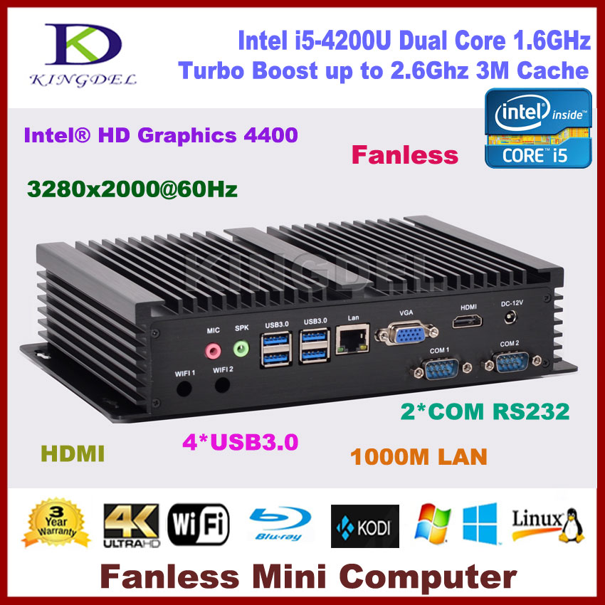 Fanless Pc, Htpc Windows 10 Intel Core I5 4200U Dual Core,HDMI, Gigabit LAN 2 COM RS232,300M WiFi,Mini Desktop Pc Computer NC320