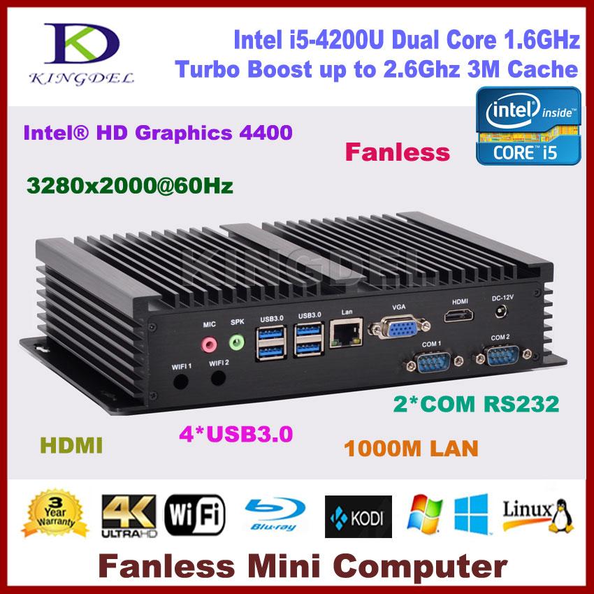 Fanless pc, htpc Windows 10 Intel Core i5 4200U dual core,HDMI, Gigabit LAN 2 COM RS232,300M WiFi,Mini desktop pc computer NC320 цена 2016