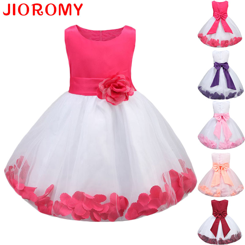 Kids Infant Girls Flower Petals Kjole Børn Brudepige Toddler Elegant Dress Sideant Bryllup Brude Tulle Formelle Party Dress