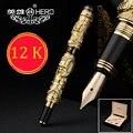 Высококачественная китайская перьевая ручка золотого цвета Dragon 12K  набор чернильных ручек 0 5 мм  полностью металлические роскошные ручки с ...