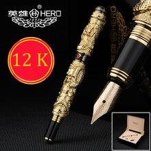 Yüksek kaliteli çin ejderha 12K altın dolma kalem seti 0.5mm mürekkep kalem tam metal lüks kalemler hediye kutusu 1050