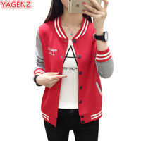 YAGENZ Spring Autumn Jacket Womens Coat Plus size 5XL Loose Wild Female Student Casual Coats Single breasted Stitching Tops 483