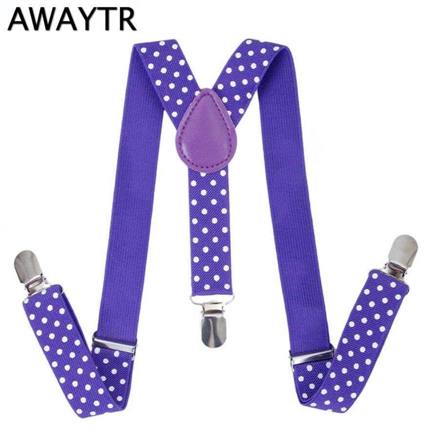 AWAYTR Baby Suspenders Cute Dot Suspenders For Kids Adjustable Braces Purple Color Baby Belts Wedding Party School Suspensorio