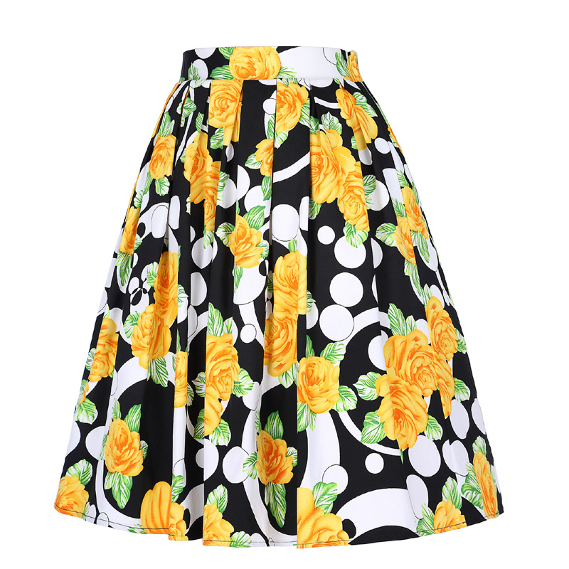 50s Vintage Women Fresh Style Floral Print Skirt High Waist Midi Skirt Knee-length Pleated Ball Gown Saia Femininas Ladies Skirt