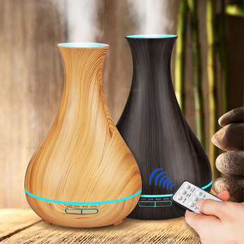 Ultrasonic air humidifier perfume oil remote control diffuser wood grain mist cooler LED night light is suitable for home office