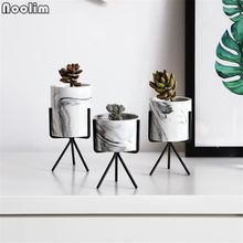 Nordic Minimalism Style Marble Pattern Golden Ceramics Iron Art Vase Tabletop Flower Pot Home Wedding Living Room Decoration(China)