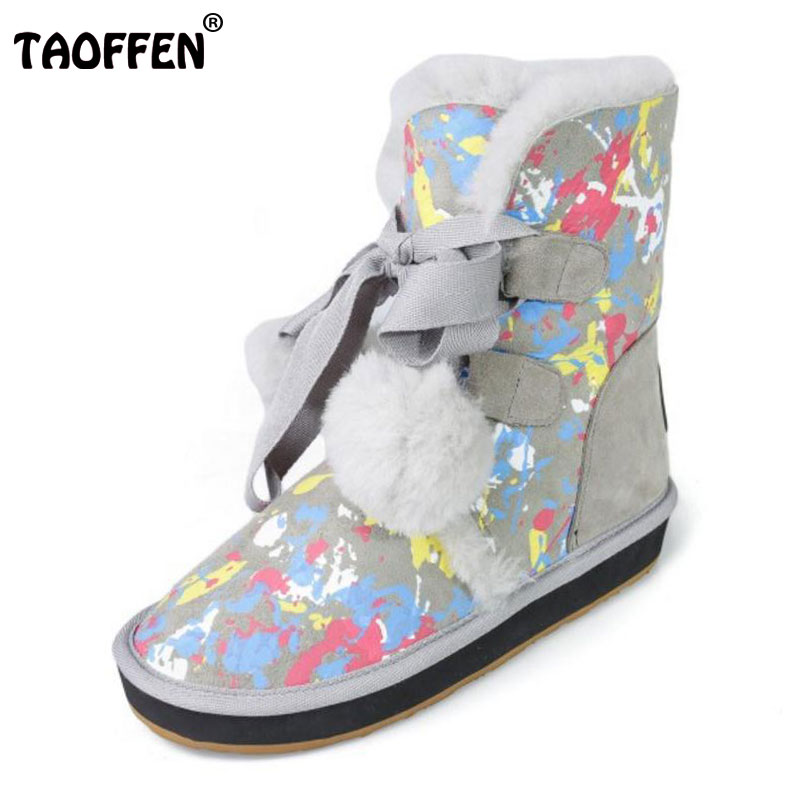 TAOFFEN Cold Winter Snow Boots Women Real Leather Thick Fur Mid Calf Winter Boots Women Pompon Platform Flat Botas Size 34-39 stylish women s mid calf boots with solid color and fringe design