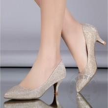 Günstige Schwarz Keil Kleid Schuhe Silber Hochzeit Sandalen Pumpen Glitter Big Plus Size Schuh Runde Kappe Cuban Heel Partei Discount