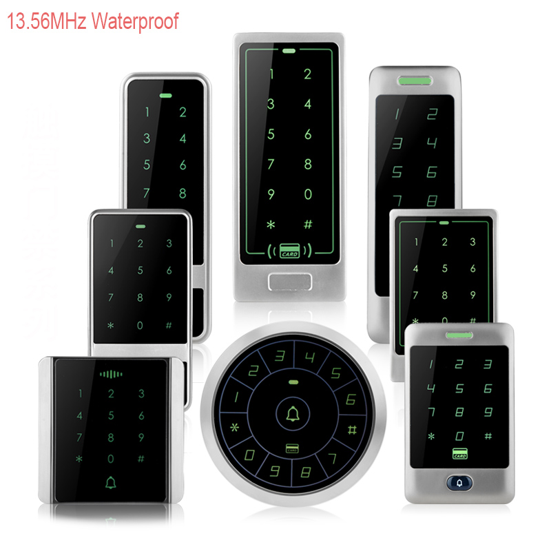 13.56MHz RFID Metal Waterproof Access Control With Touch Keypad Card Reader+10 Mifare 1k Keyfobs For Door Access Control System free shipping waterproof metal shell 125khz rfid access control card reader with wg26 port 5pcs crystal keyfobs