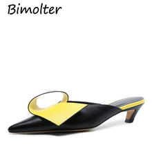 Bimolter 2019Summer Slippers Women Natural Leather Fashion Designer Sandals Fretwork Thin Heel womens High Heels NC087