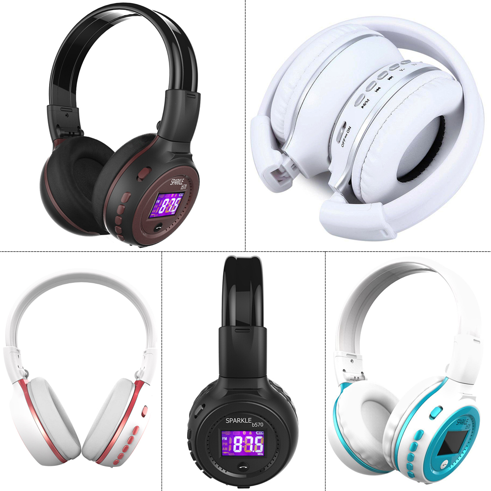 Image 5 - Wireless Headphones Bluetooth HiFi Stereo Headset With Microphone FM Radio Micro SD Card Play  LED Display Screen earphone-in Bluetooth Earphones & Headphones from Consumer Electronics