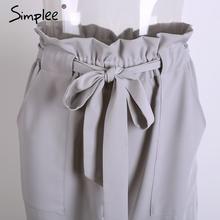 Simplee Chiffon khaki harem pants capri trousers women OL summer casual pants female Streetwear sash black high waist pants 2018