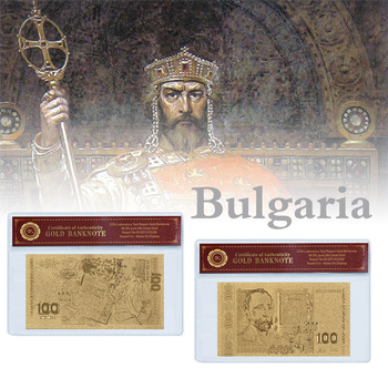 Bulgarian Money 100 Leva Gold Fake Banknote with Quality Plastic Coa Frame Album for Banknotes Bill Collection Gift for Men