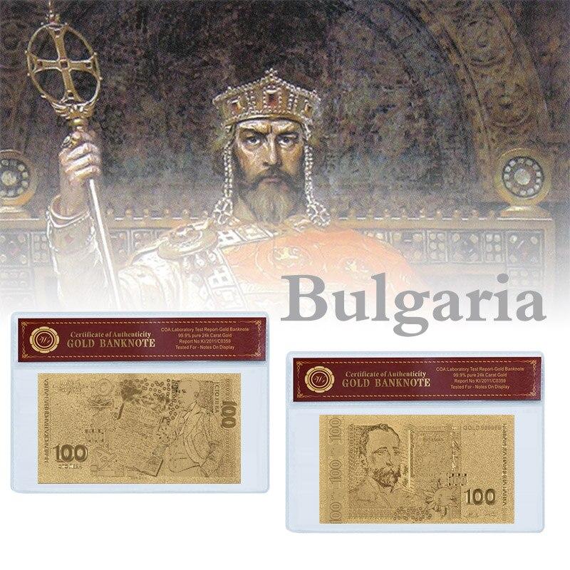 Dinheiro búlgaro 100 leva notas falsas de ouro com qualidade de plástico coa quadro álbum para notas bill coleção presente para homem