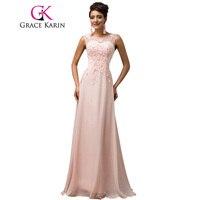 Long Bridesmaid Dresses Grace Karin Sleeveless Chiffon Pink Red Royal Blue Black Wedding Party Dress
