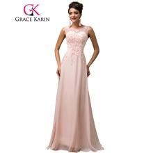 Long Bridesmaid Dresses Grace Karin Sleeveless Chiffon Pink Red Royal Blue  Black Wedding Party Dress Formal · 6 Colors Available