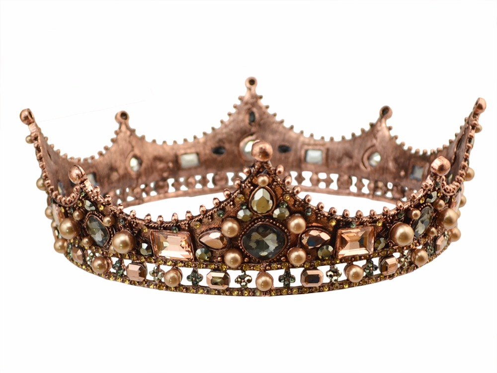 Idealway Barok Luksus Pearl Bridal Crown Bryllupsfest Prom Vintage Full Crystal Big King Queen Tiara og Crown coroa casament