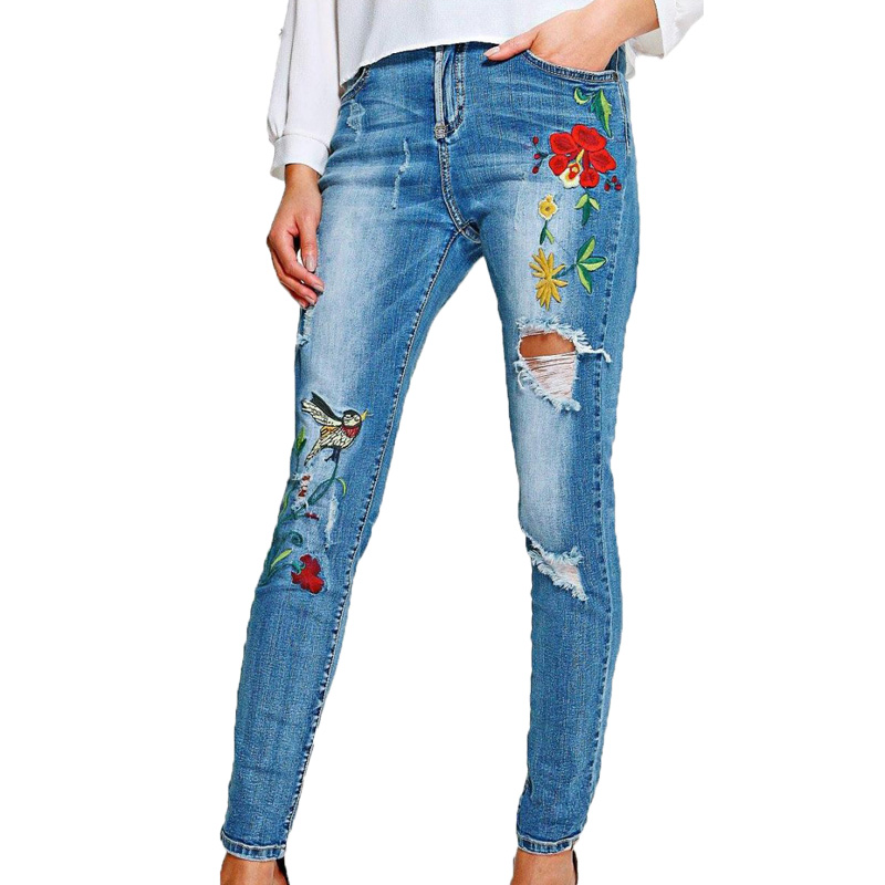 Summer 2017 trousers women casual female jeans woman high waist jeans whitish embroidered jeans denim pants