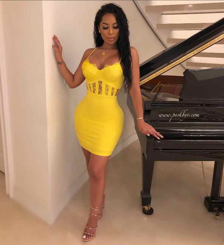 Newest Ladies Sexy V Neck Lace Yellow Bandage Dress 2019 Knitted Elastic Party Dress