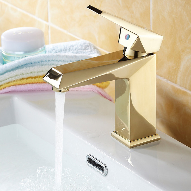 European Gold Polish Solid Brass Tap Bathroom Sink Faucet Bathroom - Bathroom faucets and hardware