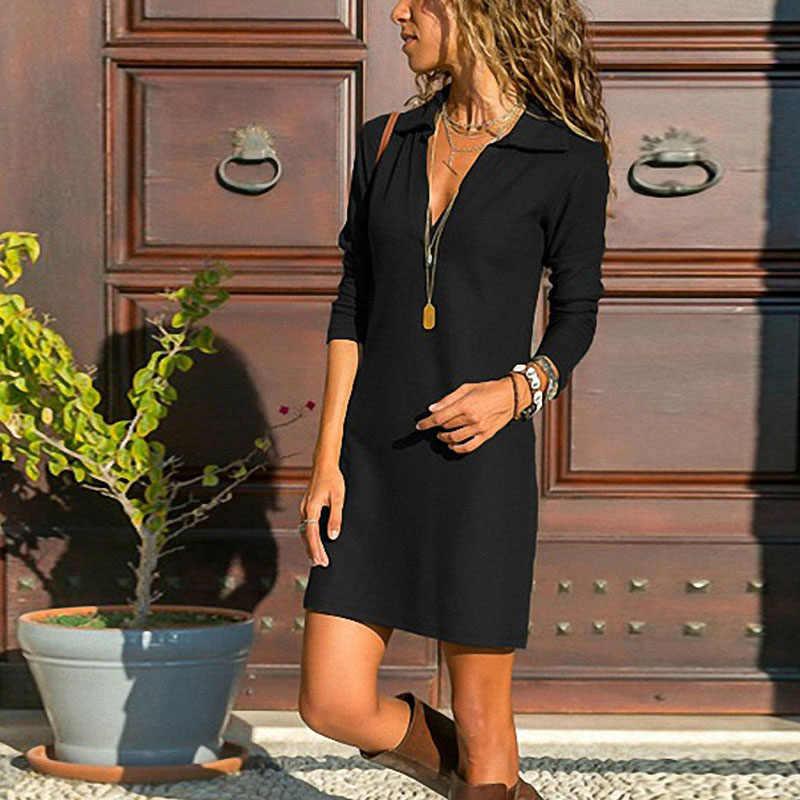 2019 נשים אופנה חדשה אביב שרוול ארוך V-צוואר Loose מוצק קצר המפלגה שמלה בתוספת גודל S/M/L /XL/XXL/XXXL