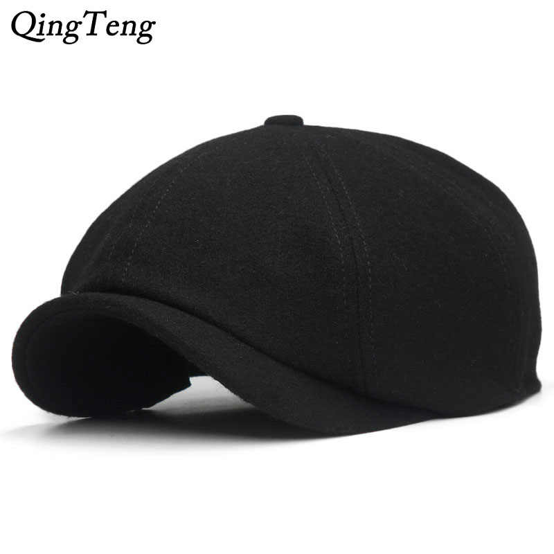 f832b2e6 Solid Black Vintage Men Berets Caps Wool Beret Hat French Peaked Caps  Female Casual Newsboy Cap