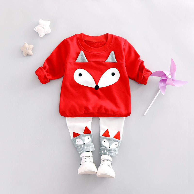 Children Cotton Clothing Sets Cartoon Fox Print T Shirts+ Pants Suits Boys Girls Fashion Clothes Suit 2017 Spring New