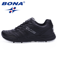 BONA New Classic Style Men Running Shoes Cow Leather Sport Shoes Outdoor Jogging Athletic Footwear Comfortable Light Sneakers