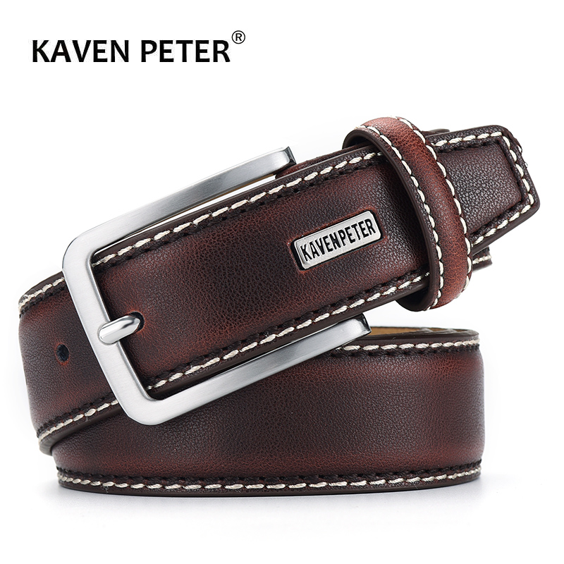 Fashion Men Belts Genuine Leather Luxury Designer Brown Vintage Waist Belt For Jeans Cinturon Cowboy Hombre Dropshipping(China)