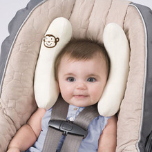 Baby Infant Car Travel Sleeping Pillow Head Neck Cartoon Headrest Seat Covers White Pink Color