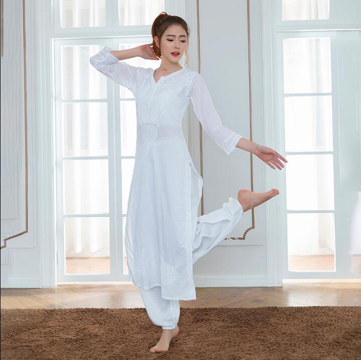2019 India Traditional Woman Yoga Costume Cotton Hand-made Embroidery Zen Training Kurtas Thin Kundalini White Top Ethnic Style