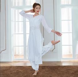 2019 India Traditionele Vrouw Yoga Kostuum Katoen Hand Gemaakt Borduurwerk Zen Training Kurtas Dunne Kundalini Witte Top Etnische Stijl