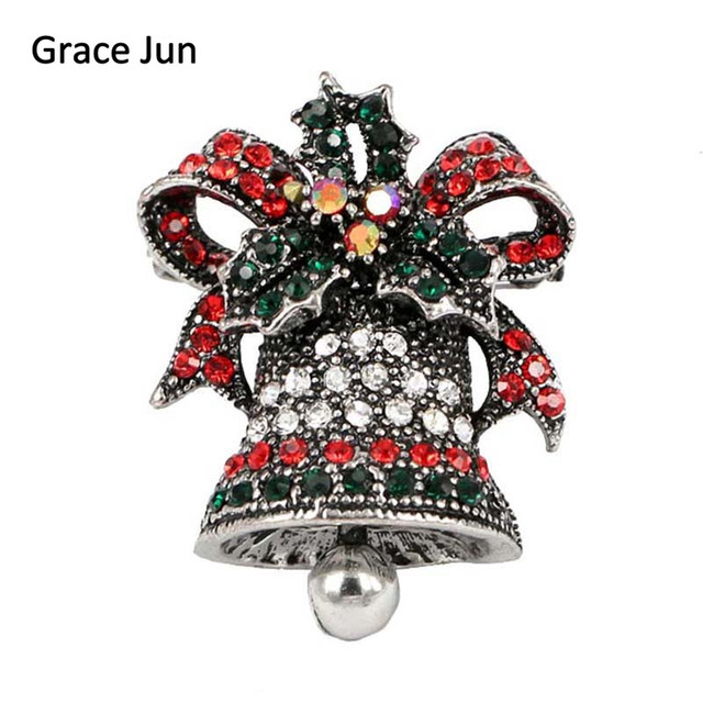 3 colors choose full multicolor rhinestone bowknot bells brooches for women elegant christmas ornaments high qualtiy