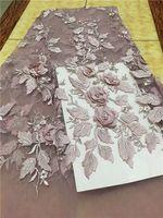 Hand werk 3D bloem met kralen hoge kwaliteit nigeriaanse kralen kant stoffen 5 yard afrikaanse tule kant netto kant stof