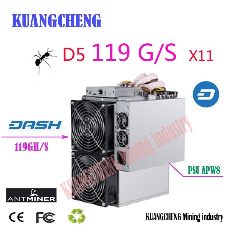 US $850 0 |Asic Dash Antminer D5 119G Dash miner X11 Dash coin mining  bitmain D5 Better Than D3 S9 Z9 Mini Baikal BK X X10 BK G28-in Servers from