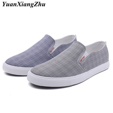2019 fashion plaid men canvas shoes for men loafers comfortable mens shoes casual breathable slip on shoes man flats shoes цены онлайн