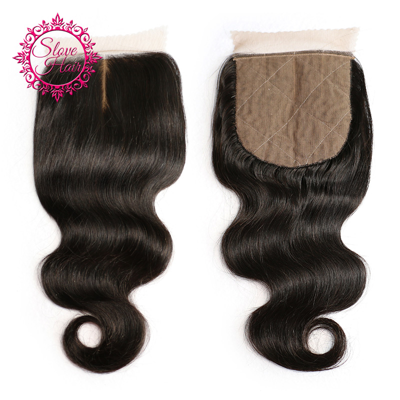 Body Wave Silk Base Closure Remy Brazilian 4x 4 Human Hair Closure Swiss Lace Free Middle 3 Part Match With Weave Bundles Slove