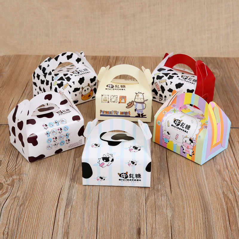 60 x Korea Style Cartoon Cow Nougat Biscuit Packing Gift Box with Portable Handle Wholesale