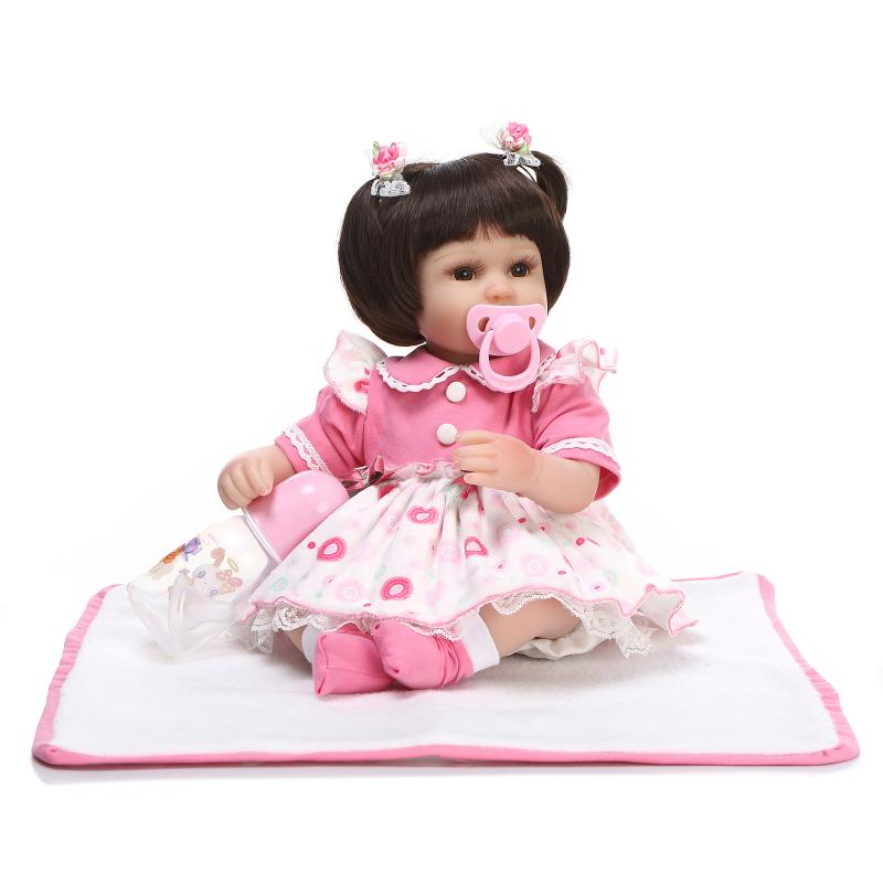 45cm New silicone reborn baby doll toy for girls playmate Sleeping dolls for kid lovely newborn girl babies gifts brinquedos