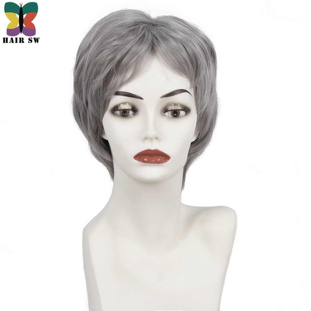 Волос SW Короткие прямые кокетливый слоистых парик дамы Синтетический волос темно-серый больной раком парики с челкой для пожилых людей