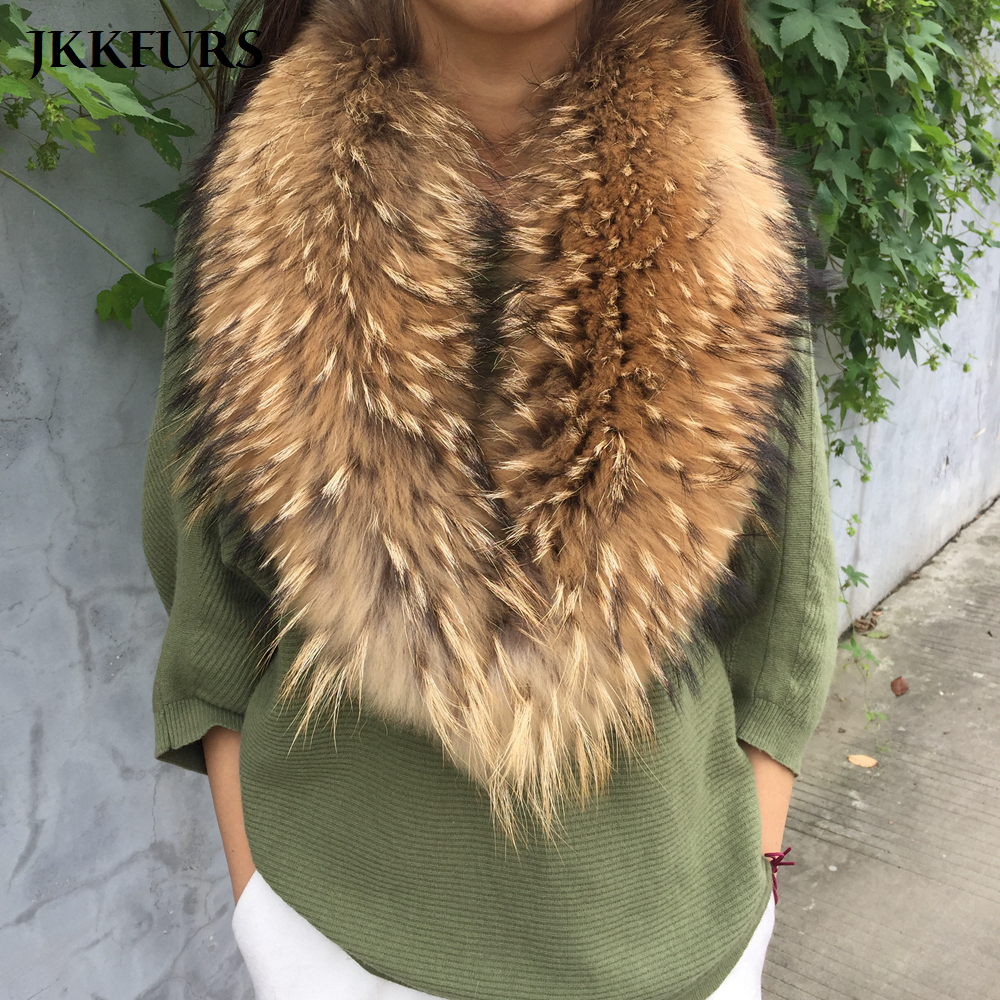 Women s Magnetic Real Raccoon Fur Big Collar Fashion Style Scarf 90cm 100cm Winter Neck Warm