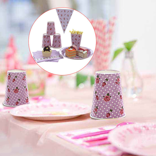 Purple Dotted Rose Vintage Disposable Paper Plates Cups Tissues Popcorn Boxes Pennant Party Wedding Carnival Tableware & Purple Dotted Rose Vintage Disposable Paper Plates Cups Tissues ...