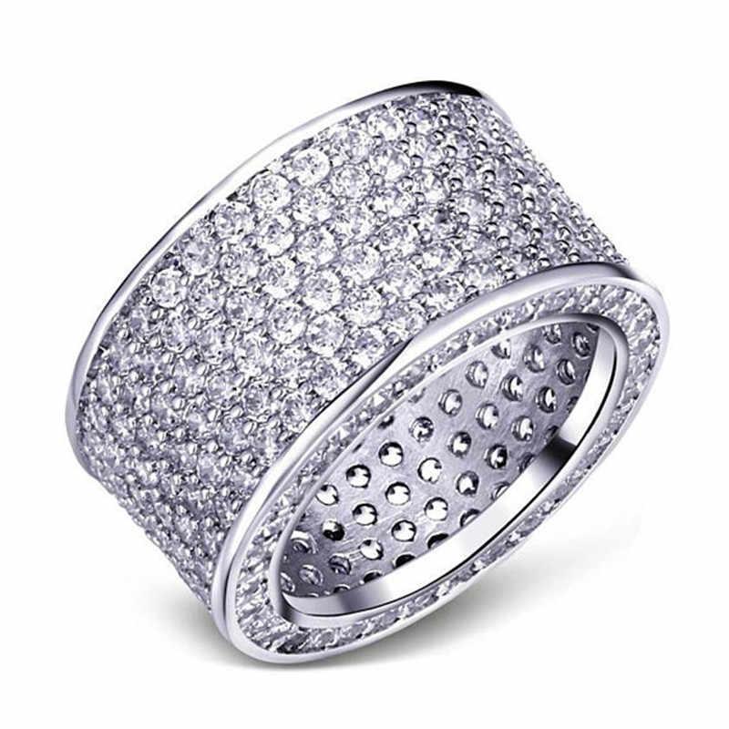 Choucong luxe bague en or blanc rempli plein 300 pièces AAAAA Zircon fiançailles bague de mariage anneaux pour femmes hommes bijoux