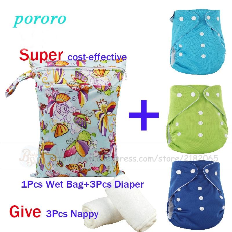 New Arrival Newborn Baby Care Set 3 Pcs Reusable Merries Diaper Fralda 1pcs Wet Bag Bolsa