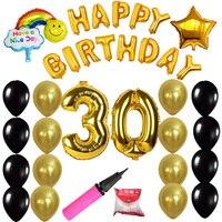 Mutlu Doğum Günü Partisi Süslemeleri 30 21 Numarası Folyo Balonlar Lateks Topları Hava Balonlar Pompa Balon Sopa Doğum Günü Parti Malzemeleri