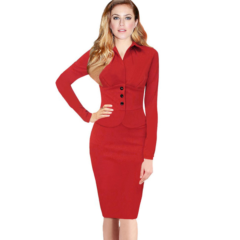 Cool Patchwork Long Sleeve Workwear Business Office Pencil Dress Outfit Suits Women Autumn Winter ...