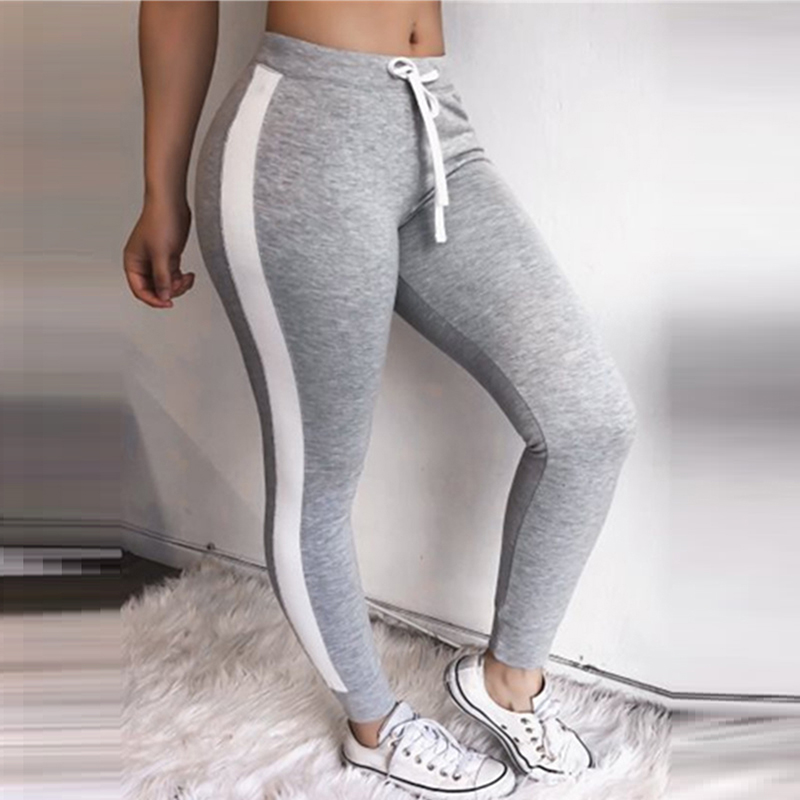 Sweatpants Women Grey Striped Drawstring Waist Casual Womens   Pants   Striped Ribbed Sweatpants Skinny Trousers   Capris