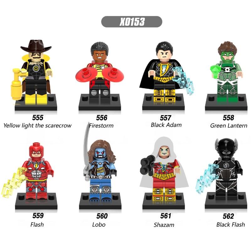 Single Sale Super Heroes Yellow Light The Scarecrow Black Adam Green Lanten Firestorm Building Blocks Children Gift Toys